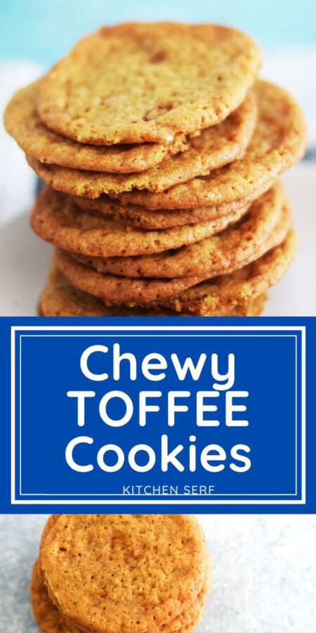 Stack of toffee cookies on a pale blue background