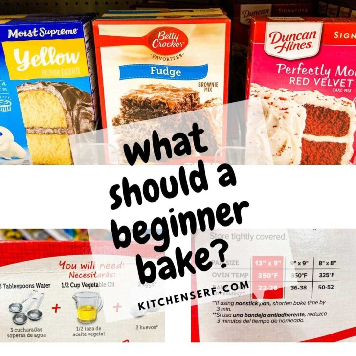 baking mixes on grocery store shelf