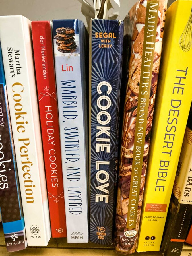cookbooks on bookshelf