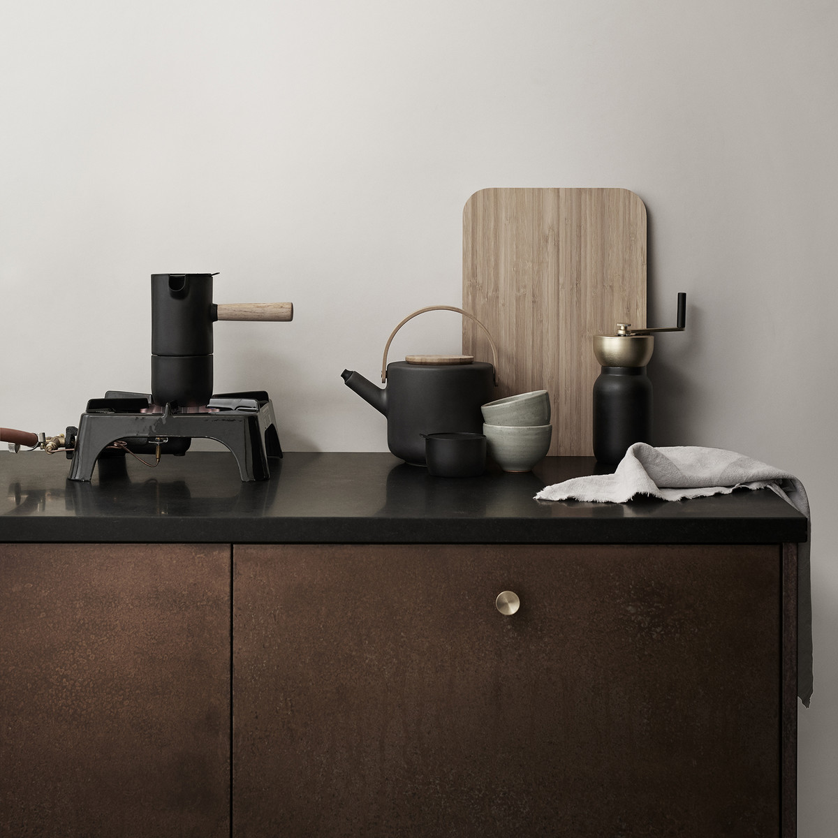 Stelton - Nordic Collar Espresso Brewer, Theo teapot, Collar coffee grinder, collar sugar bowl, theo tray
