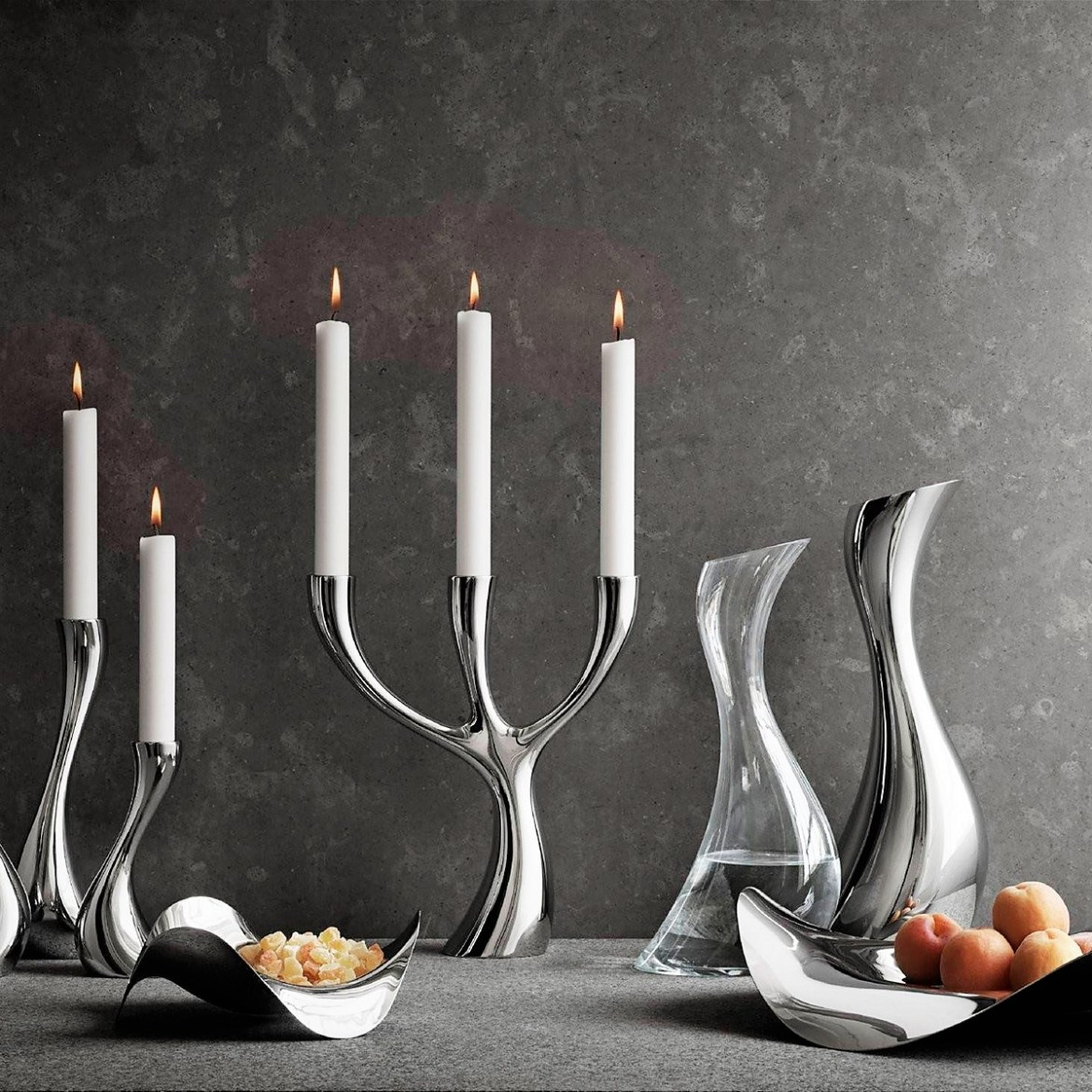 Georg Jensen Cobra Collection Candle holder, Candelabra, Bowl and Carafe in stainless steel and glass