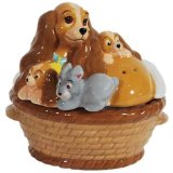 Westland Giftware Magnetic Ceramic Salt and Pepper Shaker Set, Lady and Puppies in A Basket, Multicolor