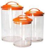Reston Lloyd 3-Piece Calypso Basics Acrylic Canister Set, Orange