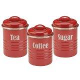 Typhoon Vintage Kit Tea/Coffee/Sugar Canisters, Red, Set of 3