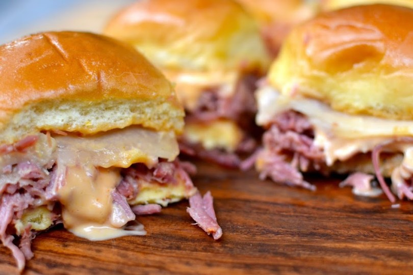 A Southern Soul: Slow Cooker Corned Beef Reuben Sliders