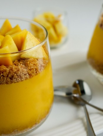 Gluten free mango pudding made with coconut milk. A delicious dessert made with fresh juicy mangoes in just 10 minutes.