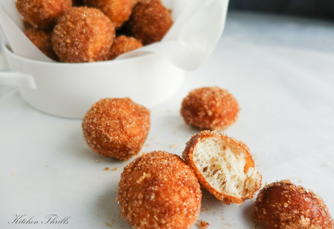 Deep fried cinnamon sugar donuts – an all-time favorite after school snack. Goes perfect with a cup of coffee or tea