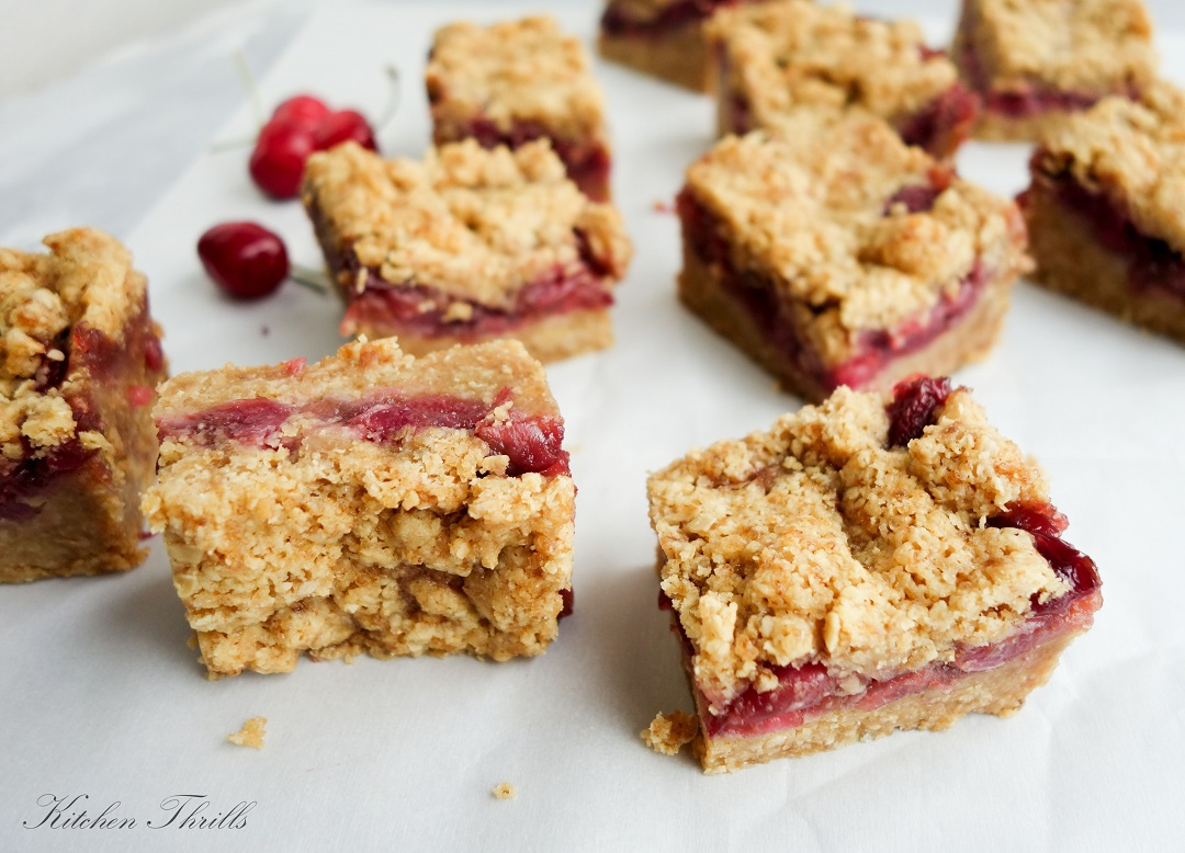 Delicious eggless cherry oatmeal bars that are perfect as breakfast or dessert!