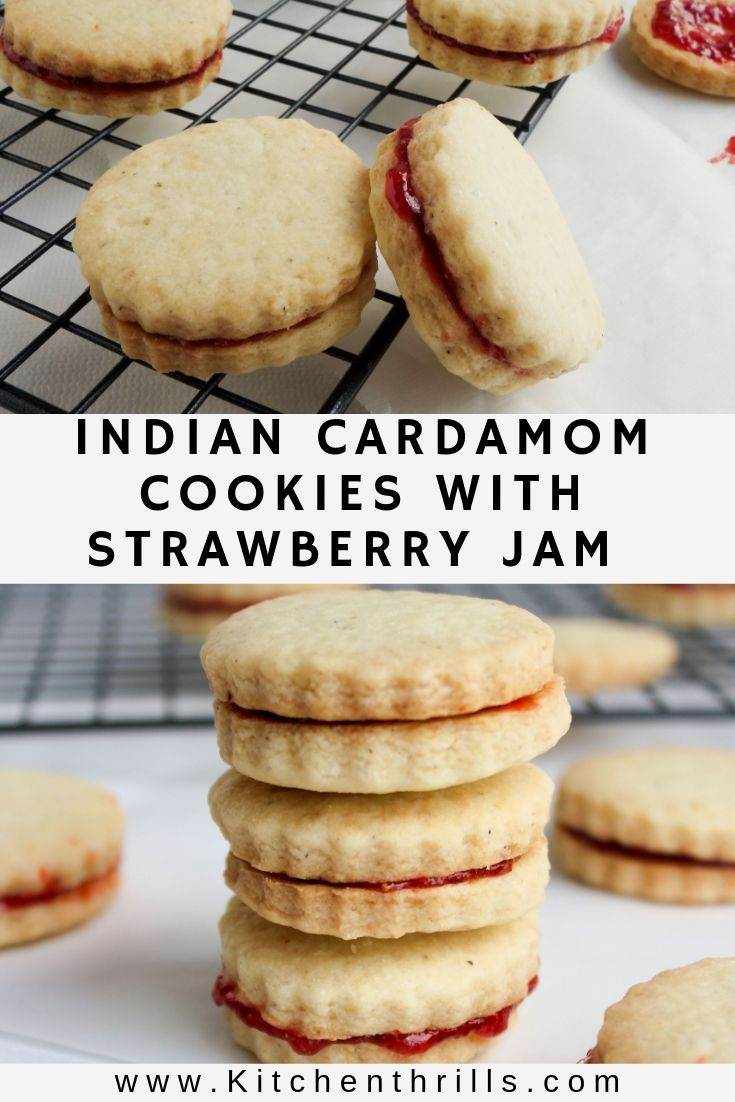Anyone can bake eggless cardamom cookies with strawberry jam. These easy and simple cookies are buttery, crispy and super addictive. The perfect mix between Austrian linzer cookies and Indian Nankhatai