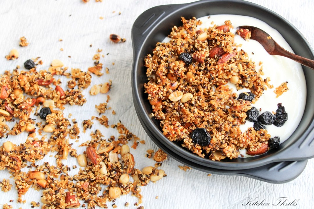 Grain free Sesame coconut granola can be had as a delicious breakfast with yogurt and fresh fruits.