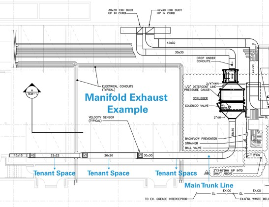 Manifold Exhaust Example for Food Halls or Mixed-Use Retail Properties
