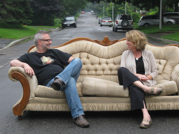 Sitting pretty: Community couch draws neighbours together