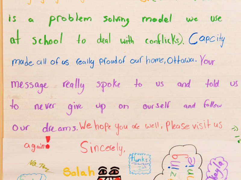 This is a thank you letter Peter Joynt received after his presentation at Elmdale P.S. Click the image to enlarge.