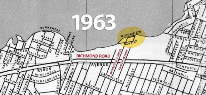 This street map of Ottawa published by the Tourism and Convention Bureau in 1963 shows where Banting Avenue used to be.