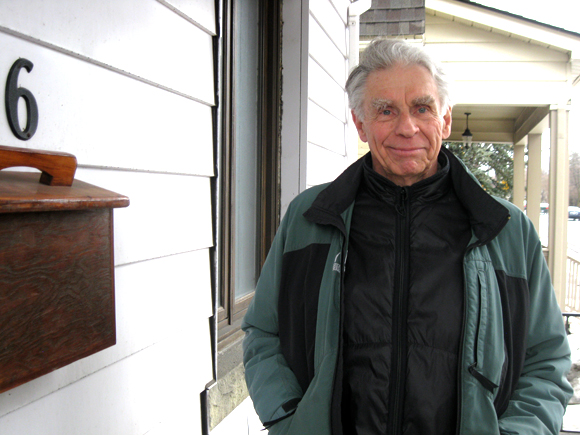 81-year-old Westboro resident Nick Aplin joined a panel on April 9 to talk about what's wrong with ending home mail delivery. Photo by Denise Deby.
