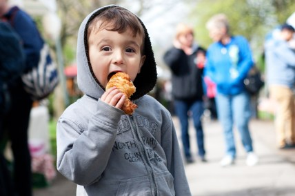Kieran Mehta, 3, enjoys his fresh croissant