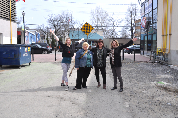 Yoga instructor Megan Martin, along with Winston Square organizers Lee Ann McLellan, Westboro BIA Executive Director Mary Thorne, and McKellar Park resident Patti Church are leading the transformation of Winston Square. A call for talent has been issued. Photo by Andrea Tomkins.
