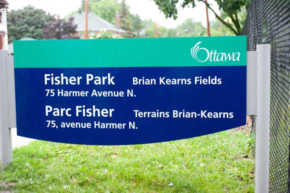 New signage for Fisher Park. Photo by Kate Settle.