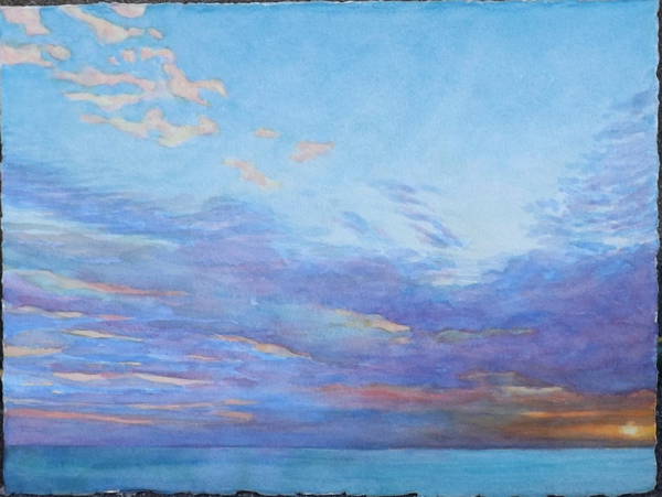 Sunset and Clouds over Salt Water Gulf, by David W. Jones.