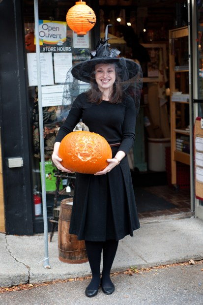 Kitchenalia Assistant Manager Jade Cummings, with their prize-winning pumpkin. Photo by Kate Settle.
