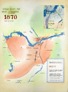 Click image to enlarge.This map shows the general extent of the Great Fire of 1870. Image courtesy of Peter Ryan of the Bytown Fire Brigade.