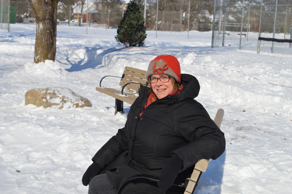 Doreen Jans says the seating area in McKellar Park has been needed for a long time. Photo by Craig Lord.