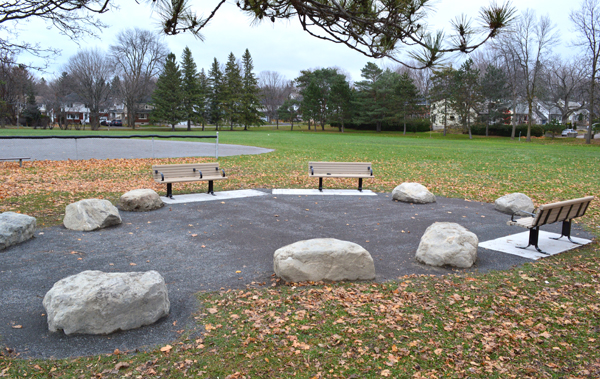 The new seating area at McKellar park, <i>sans</i> snow. (Ah, those were the days.)