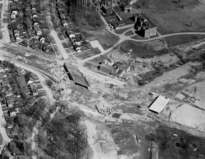 Aerial view of Island Park in 1961. Photo courtesy of City of Ottawa archives (8453). Click image to enlarge.