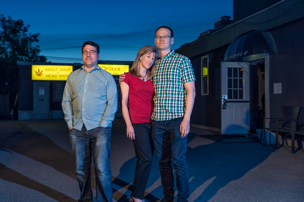 Autoerotic director Wayne Current; actor Linda Webster; and writer/actor Sterling Lynch. Photo by Ted Simpson.