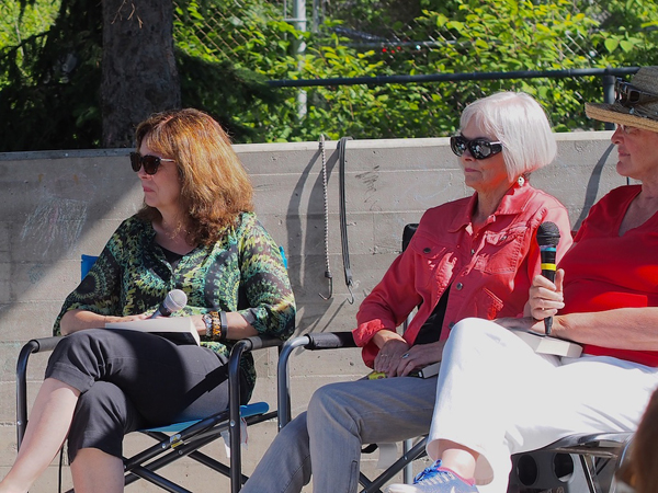 """A fabulous day, both in terms of the weather and the crowds of book lovers who trooped past our Capital Crime Writers and booth stopped to buy books and chat about crime-writing. I look forward to this becoming an annual community event,"" said Brenda Chapman, Kitchissippi resident, crime fiction novelist (left). Photo by Pearl Pirie."