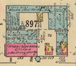 This scan from the 1948 Fire Insurance Plan of Ottawa shows the Carleton Tavern with its original and expanded structure.