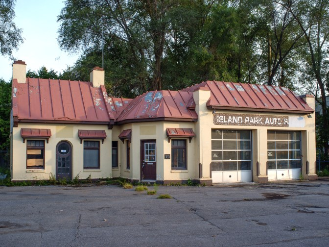"""The """"cottage"""" gas station on Island Park was owned by Pierre Trudeau's father, Charles Emile Trudeau. It was a used car lot before it was shuttered in August 2014."""