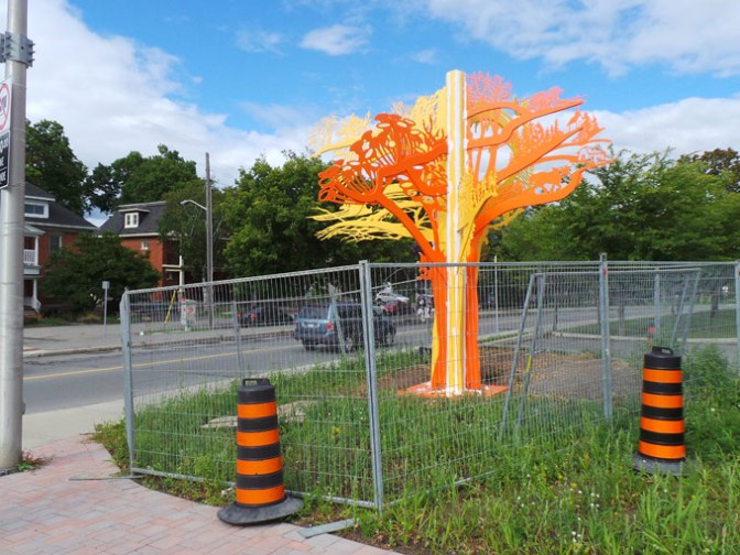 A new sculpture is close to completion at the corner of Churchill and Byron Avenues. Photos by Andrea Tomkins