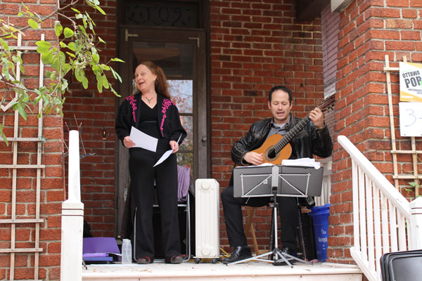 Rachel Eugster and Andrew Maw perform at Ottawa Porchfest.