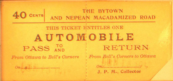 A Bytown and Nepean Road Company ticket from circa 1915. Image courtesy of the City of Ottawa Archives