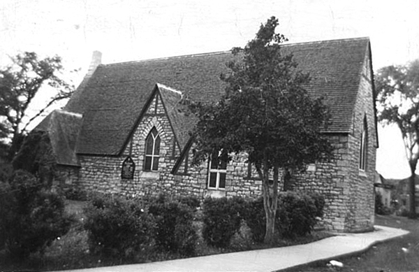 The original All Saints' Church was designed by Thomas Fuller and constructed in 1865. This view is facing Richmond Road. Photo courtesy of the Anglican Diocese of