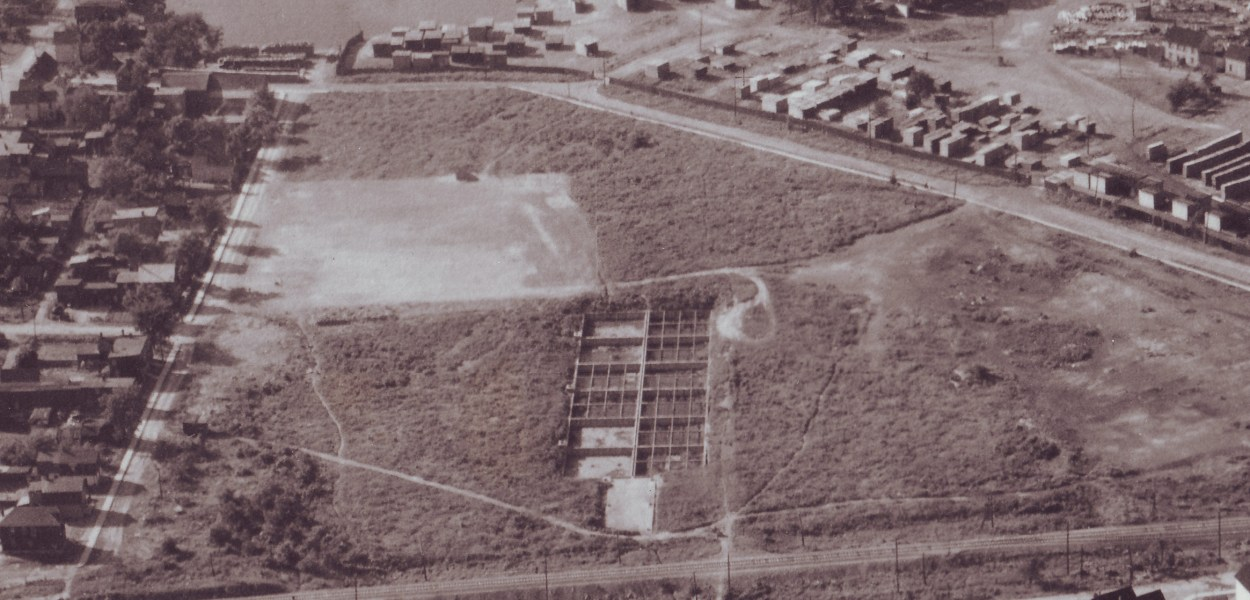 View of Laroche Park, June 24, 1927. Stonehurst Avenue is along the left, with Scott Street & CPR tracks running along the bottom. The septic system in the center (roughly 300x100 feet in size) and the new playground and baseball diamond is in the cleared area near the top. The patchy land along the east side of Stonehurst likely is evidence of the dump, which had existed there up until just two years prior.