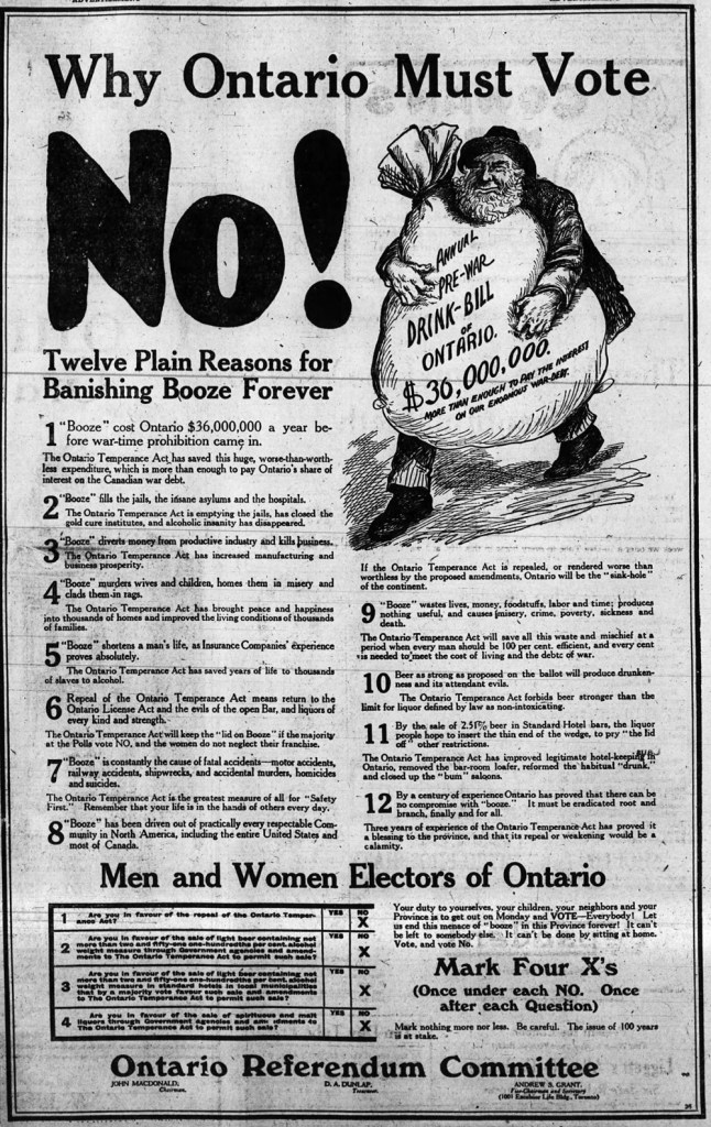 An ad from the Ottawa Journal, dated October 17, 1919, during the big referendum after WWI to repeal or continue prohibition. (Click image to enlarge)