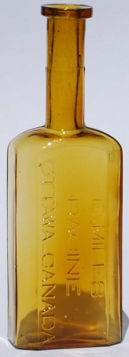 Other highly desirable Ottawa bottles are the E. (Edmund) Miles Hair Bottle valued in the $400 to $500 range. Mr. Miles ran a high-end barbershop on Sparks Street in the late 19th century.