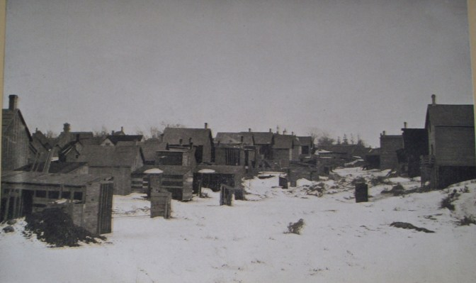 Click to enlarge. This photo from 1911 shows the outhouses along the rear of Merton, behind the old frame houses.