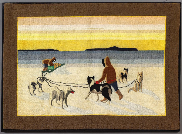 Grenfell mats were made primarily from donated silk stockings and produced by women in remote outports of Labrador and Newfoundland. Photos by Colin Latreille, Colin Latreille Auction Services