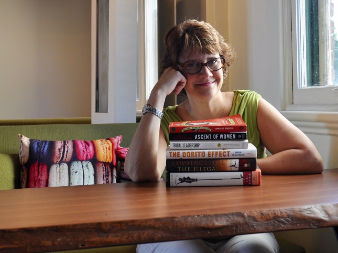 heila Whyte of Thyme & Again has a balance of fiction and non-fiction on her nightstand, and of course, a few books about food. Photo by Andrea Tomkins