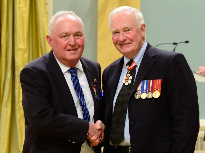 Norm Morrison (left) was recently awarded the Sovereign's Medal for Volunteers by His Excellency the Right Honourable David Johnston. Photo by Sgt Johanie Maheu, Rideau Hall OSGG, 2016