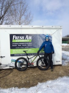 """Leah and Trevor write: """"Well, we have skied and snowshoe run the SJAM Winter Trail and LOVED IT! But....the highlight was a 40th Birthday Fat Bike Party! Six of us had a ball renting all our bikes from Fresh Air and biking down to the War Museum Cafe, did we mention it was minus 27?? Saw your tweet about submitting our best SJAM adventure... we have many different adventure pics on the trail, but the Fat Bike Party was truly the most unique out on that trail. The event included the SJAM, bikes from FreshAir, a stop at the War Museum and treats from The Cupcake Lounge. Gems in our neighbourhood!"""""""