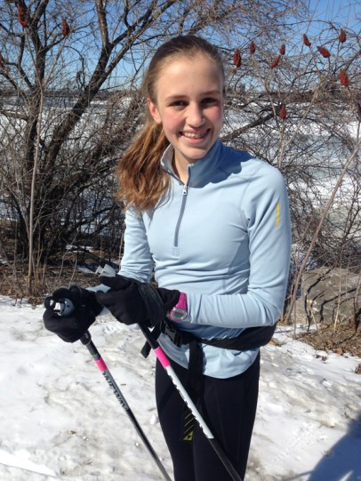 "Graham Page writes that this photo ""was taken more recently in March on a warm, warm day. Jazmine loved skiing on the SJAM!"""