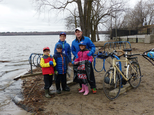"""(L-R) Jay Foursier, Maddock Curry, Ruben Demelindberg, Dennis Foursier, and Mia Foursier. Ruben says his mom invited his entire school. """"She runs the Eco Club at Broadview, so we come."""""""