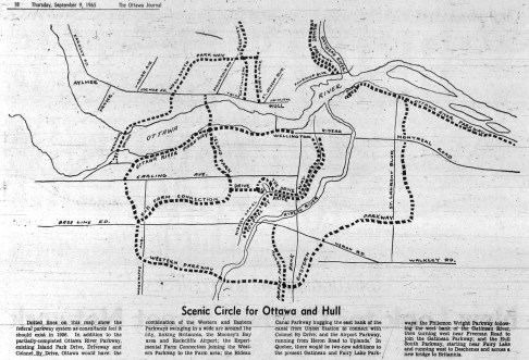 This 1965 illustration published in the Ottawa Journal shows what planners predicted the parkway system throughout Ottawa would look like 20 years later, in 1986.