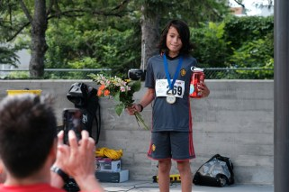 First place male runner in the children's category.