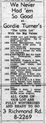 Advertisement for Gordie Turner's in 1955