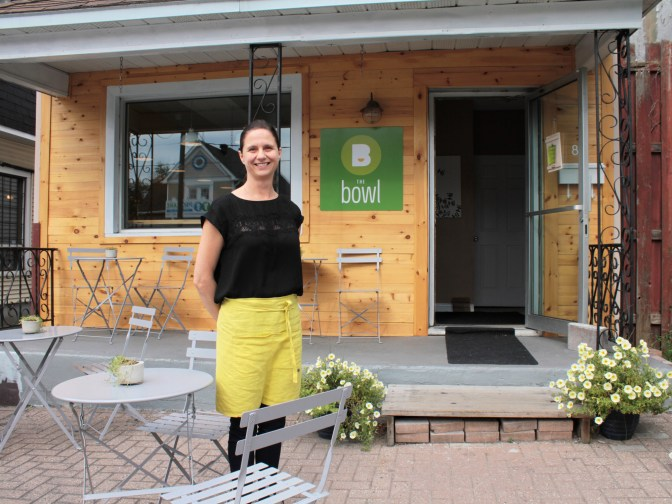 The Bowl founder and owner Kristy Gaetz stands at the location of her new restaurant on Holland Avenue. Kirsty says the minimalist decor inside reflects the streamlined, low-waste nature of the food.